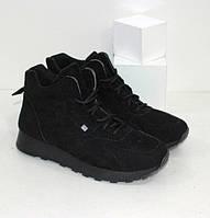Замшеві підліткові черевики на хлопчика в спортивному стилі чорні р. 38