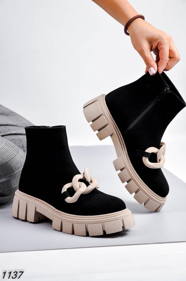 Женские ботинки с Декором Цвет - Черный Материал - нат.замша