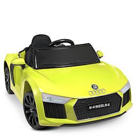 Дитячий електромобіль Audi (2 мотора за 25W, 2аккум, муз,св, MP3, TF, USB, кількість EVA) Bambi M 4190EBLR-6 жовтий