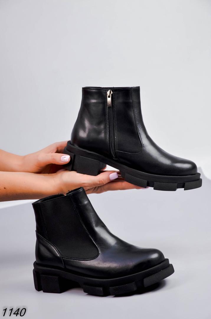 Женские ботинки (сбоку рабочая молния) Цвет - Черный Материал - нат.кожа