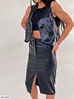 Модная стильная женская юбка карандаш облегающая по колено с разрезом спереди из эко-кожи люкс арт 1404