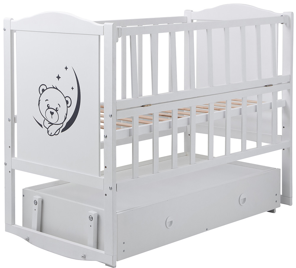 Ліжко Babyroom Тедді Т-03 фігурне бильце, маятник, ящик, відкидний пліч білий