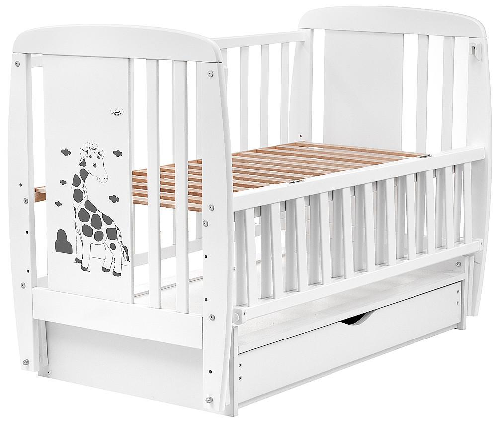 Кровать Babyroom Жирафик маятник, ящик, откидной бок DJMYO-3  бук белый