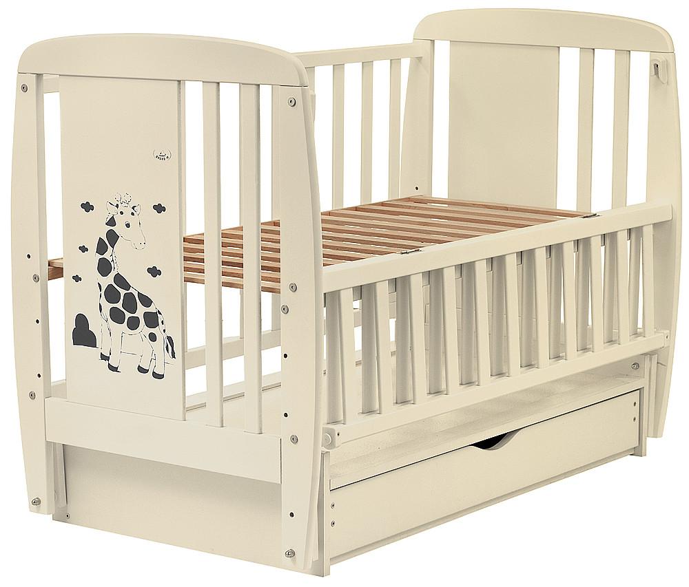 Кровать Babyroom Жирафик маятник, ящик, откидной бок DJMYO-3  бук слоновая кость