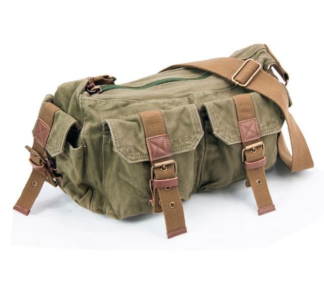 Мужская сумка через плечо Virginland | вид сбоку цвет хаки.