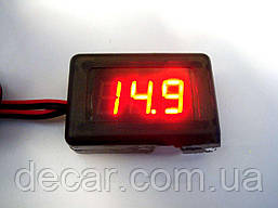 Вольтметр 12V  красн. диспл.  на скотче  (Стандарт)