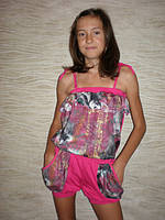 """Летний костюм для девочки """"Хулиганка"""" малинка. Детская одежда оптом."""
