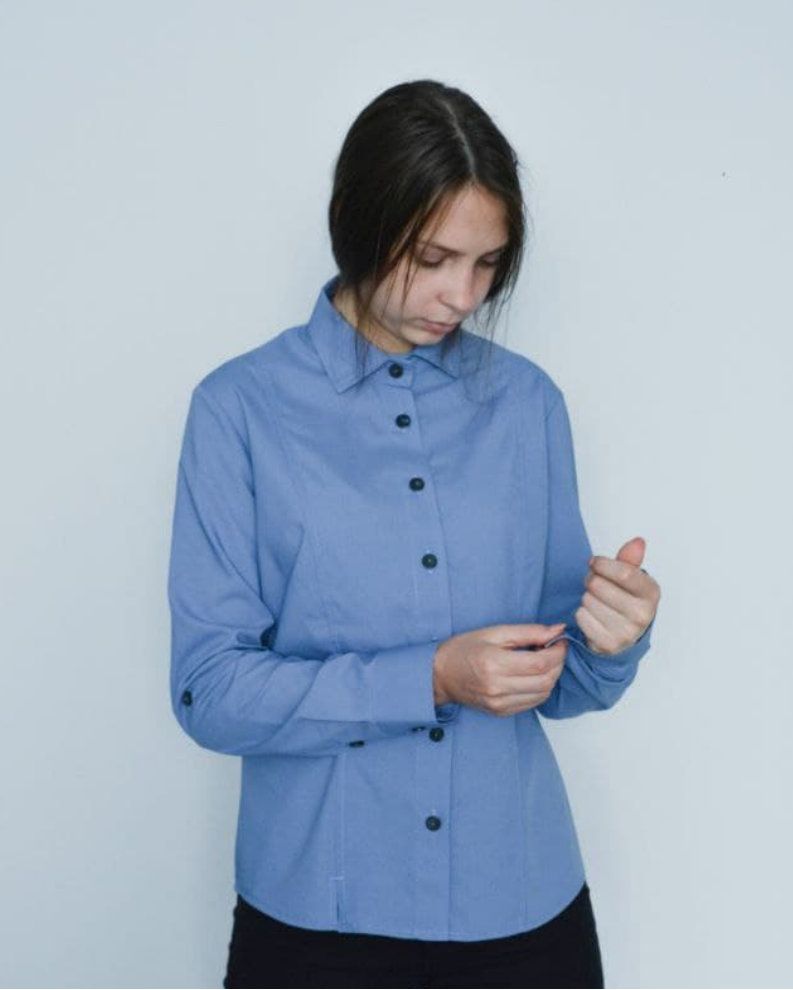 Блузка с длинным рукавом синего цвета женская