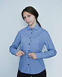 Блузка с длинным рукавом синего цвета женская, фото 2