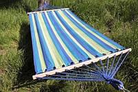 Гамак бавовняний з планкою в чохлі 80 х 200см (зелено-синій), фото 3