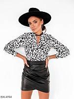 Короткая женская облегающая юбка мини из эко кожи с имитацией запаха р-ры 42,44,46,48 арт 309