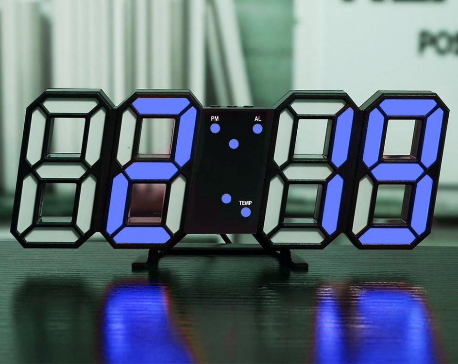 Светодиодные цифровые часы Black оclock (синие цифры)