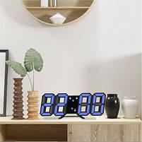 Светодиодные цифровые часы Black оclock (синие цифры), фото 2