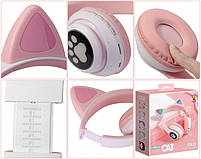 Беспроводные наушники светящиеся Ушки с поддержкой карты памяти (розовый), фото 2