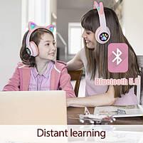 Беспроводные наушники светящиеся Ушки с поддержкой карты памяти (розовый), фото 3