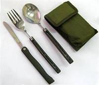 Складные нож ложка вилка в чехле, фото 1