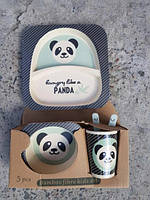 Набір бамбукових посуду з 5 предметів Панда, фото 2