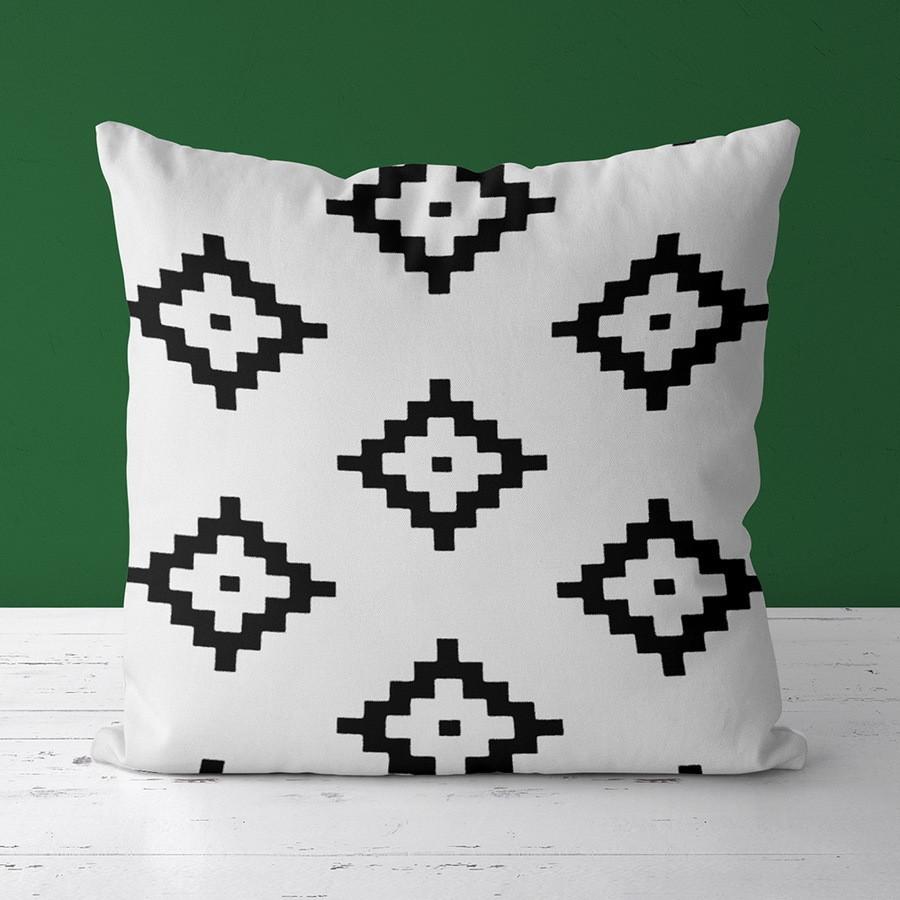 Подушка с принтом Чёрные геометрические ромбы на белом фоне 30x30, 40x40 50x50 (3P_CASA034)