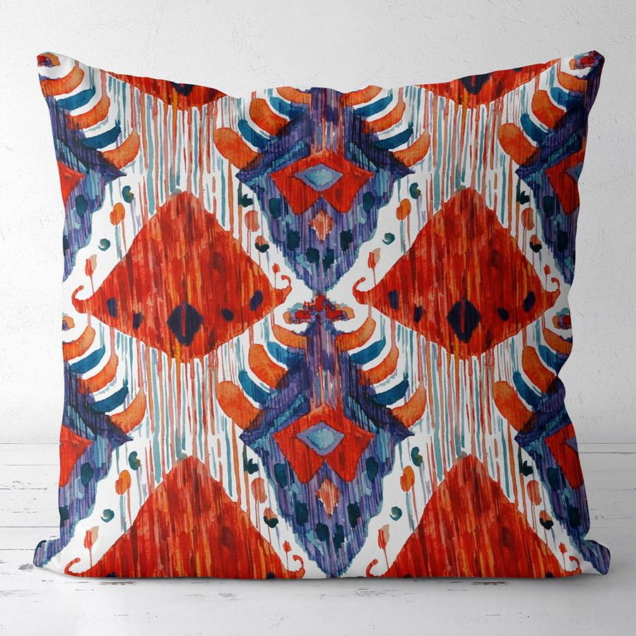 Подушка з принтом Красно-синий этно орнамент 30x30, 40x40 50x50 (3P_CASA003)