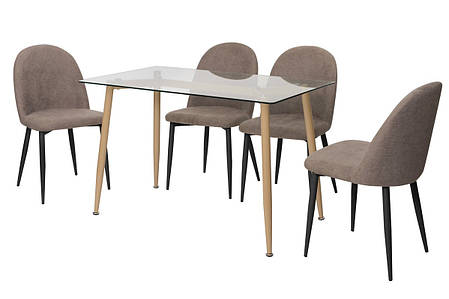 Стол T-305 прозрачный + капучино, фото 2