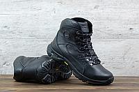 Чёрные кожаные мужские зимние ботинки ECCO   натуральная кожа / натуральная шерсть набивная + термополиуретан