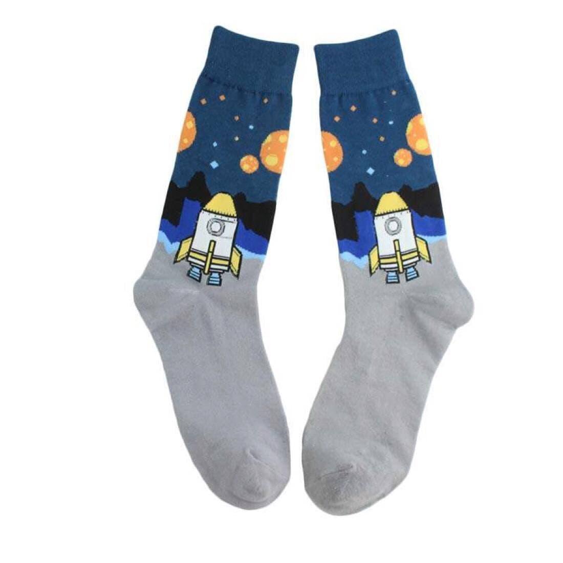"""Шкарпетки з принтом """"Космос Ракета"""" сірі"""