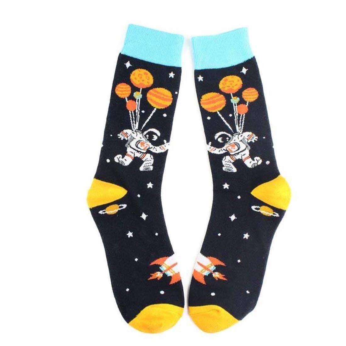 """Шкарпетки з принтом """"Космос Комонавт"""" чорні"""