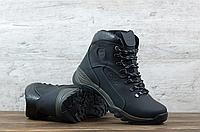 Тёмно-серые мужские зимние ботинки кожаные ECCO   натуральная кожа / натуральная шерсть + термополиуретан