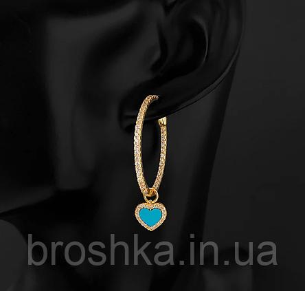 Сережки кільця з підвіскою серце АПМ Монако, фото 2