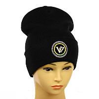 """Молодіжна шапка з декором """"VLTN"""" чорний"""