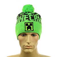 """Зимова підліткова шапка """"Minecraft"""" салатовий, фото 1"""