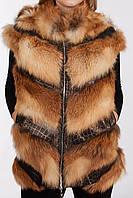 Жилет женский из меха рыжей лисы., фото 1