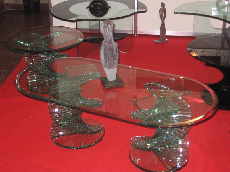 """Эксклюзивный стеклянный журнальный стол """"Диамант белый двойной"""", фото 1"""