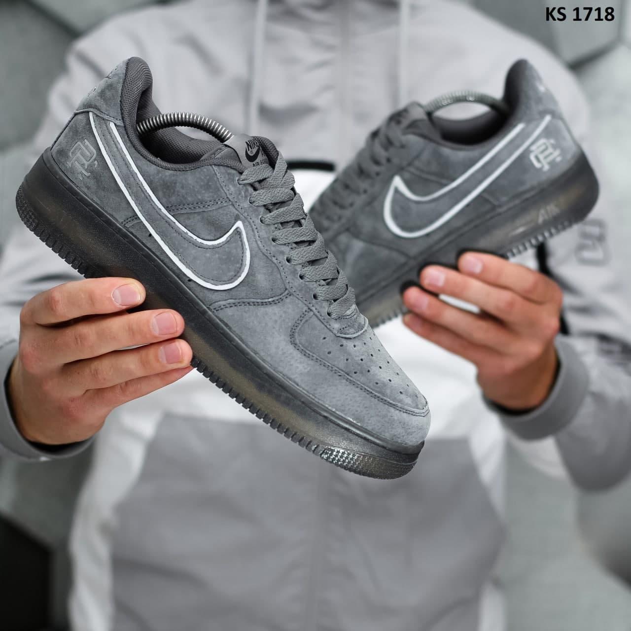 Чоловічі кросівки Nike Air Force 1 Mid х Reigning (темно/сірі) KS 1718 якісні стильні кроси