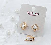 Серьги Xuping с белыми фианитами, в форме ромба - позолота 18К, высота 14мм, ширина 14мм.