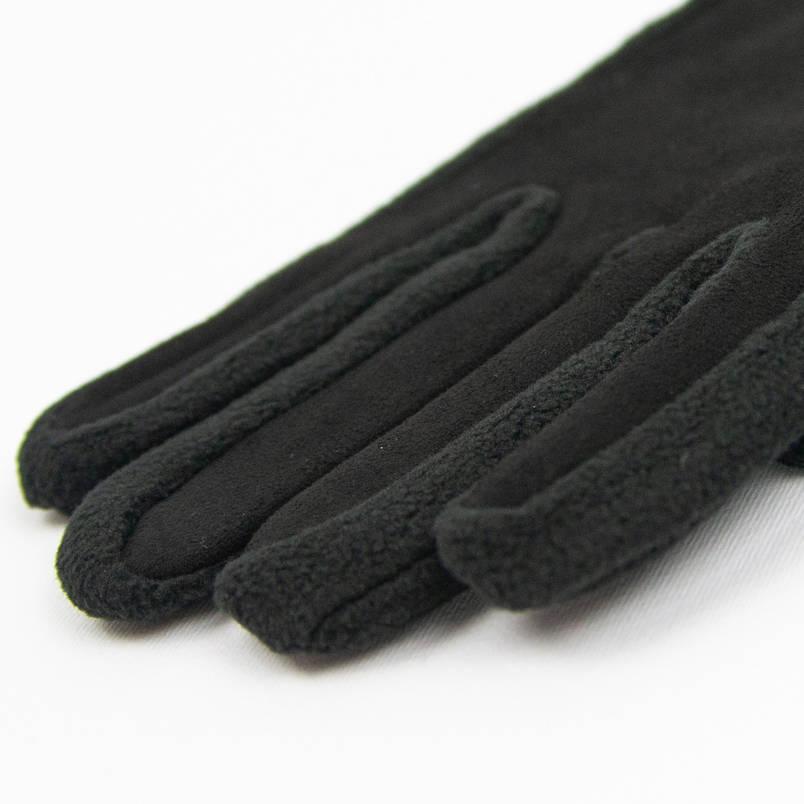 Оптом мужские спортивные флисовые перчатки со вставкой из замши для сенсорных телефонов (арт. 21-4-5) Черный, фото 2