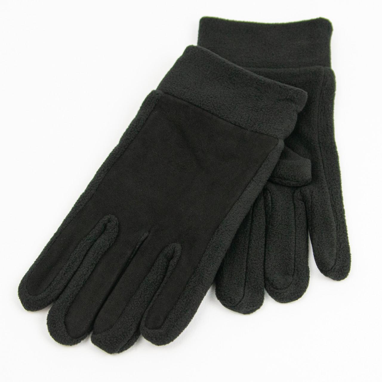 Оптом мужские спортивные флисовые перчатки со вставкой из замши для сенсорных телефонов (арт. 21-4-5) Черный