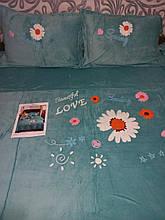 Велюровый Комплект постельного белья  однотонный Прекрасная любовь Бирюзового цвета евро размер