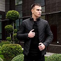 """Модная утепленная куртка без капюшона """"Уверенность"""" демисезонная черная"""
