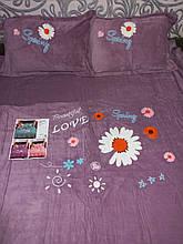Велюровый Комплект постельного белья  однотонный Прекрасная любовь Фиолетового цвета евро размер