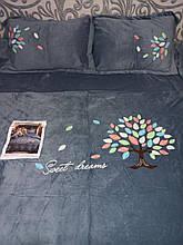 Велюровый Комплект постельного белья  однотонный Сладкие сны Серого цвета евро размер