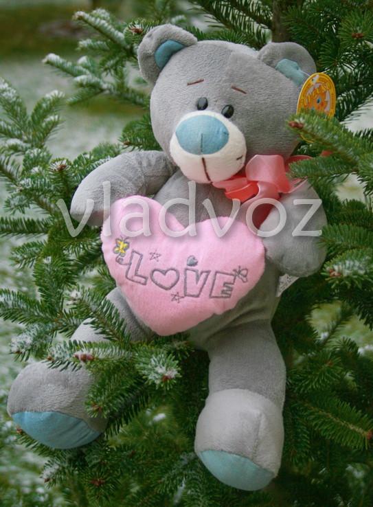 плюшевый медведь тедди с розовым сердцем