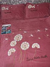 Велюровый Комплект постельного белья  однотонный Одуваны Кораллового цвета евро размер