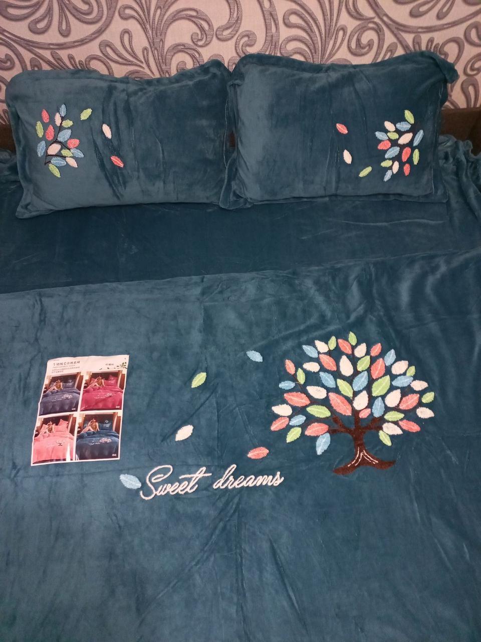 Велюровий Комплект постільної білизни однотонний Солодкі сни Бірюзового кольору євро розмір