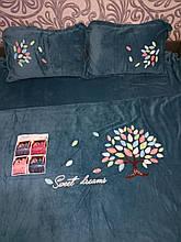Велюровый Комплект постельного белья  однотонный Сладкие сны Бирюзового цвета евро размер