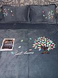 Велюровый Комплект постельного белья  однотонный Подсолнухи Серого цвета евро размер, фото 4