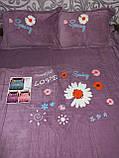 Велюровый Комплект постельного белья  однотонный Подсолнухи Серого цвета евро размер, фото 5