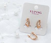 Серьги Xuping украшеные изгибами с белыми фианитами - позолота РО, высота 16мм, ширина 8мм.
