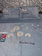 Комплект постельного белья Велюровый однотонный Одуваны Серого цвета евро размер