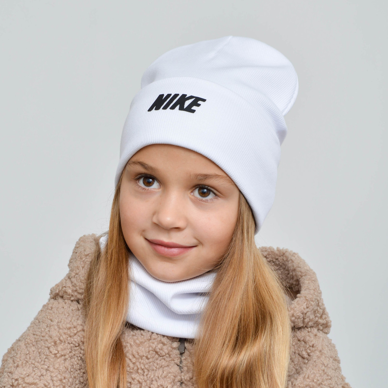 """Комплект """"Рубчик"""" х/б подвійний Nike (відворот) білий"""